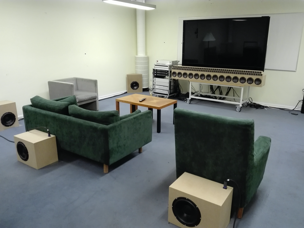 The newly built sound zone prototype setup at B&O, Struer. A similar prototype setup will be established at AAU.